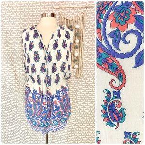 Orvis Paisley Floral Drawstring Waist Tunic Blouse